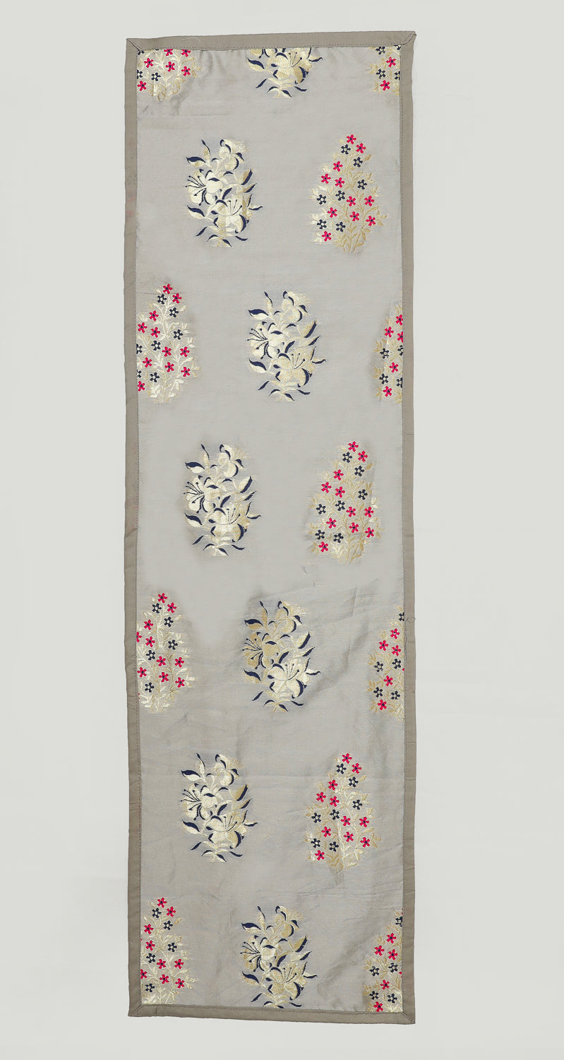 "Shalinindia Brocade Silk Table Runner for Dining Center Table Top Elegant Ethnic Home Furnishing Decorative Indian Heavy Quality Colour Light Grey Size 13x60"" Festive Gift(SI_K_RNR_13x60_008)"