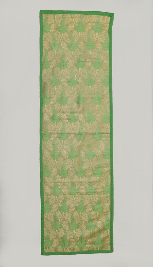 "Shalinindia Brocade Silk Table Runner for Dining Center Table Top Elegant Ethnic Home Furnishing Decorative Indian Heavy Quality Colour Green Size 13x45"" Festive Gift(SI_S_RNR_010)"