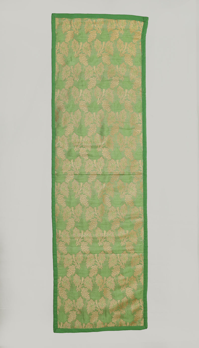 "Shalinindia Brocade Silk Table Runner for Dining Center Table Top Elegant Ethnic Home Furnishing Decorative Indian Heavy Quality Colour Green Size 13x90"" Festive Gift(SI_K_RNR_13x90_010)"