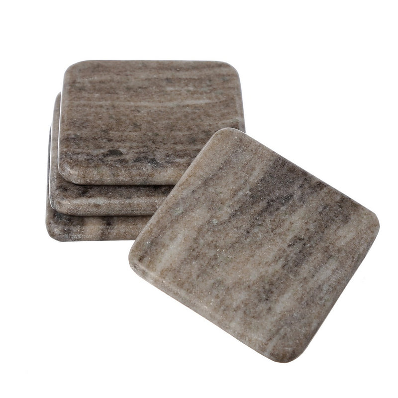 Shalinindia Handmade Brown Galaxy Marble-Square Coasters Set Of 4-Drink Coasters 4X4X0.75 Inch-Cocktail Dining Table Coffee- Artisan Crafted In India