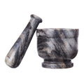 Shalinindia Handcrafted Ocean Grey Marble Mortar Pestle Set -Perfect for Grinding Herbs, Seeds & Spices -Dia-4 Inch
