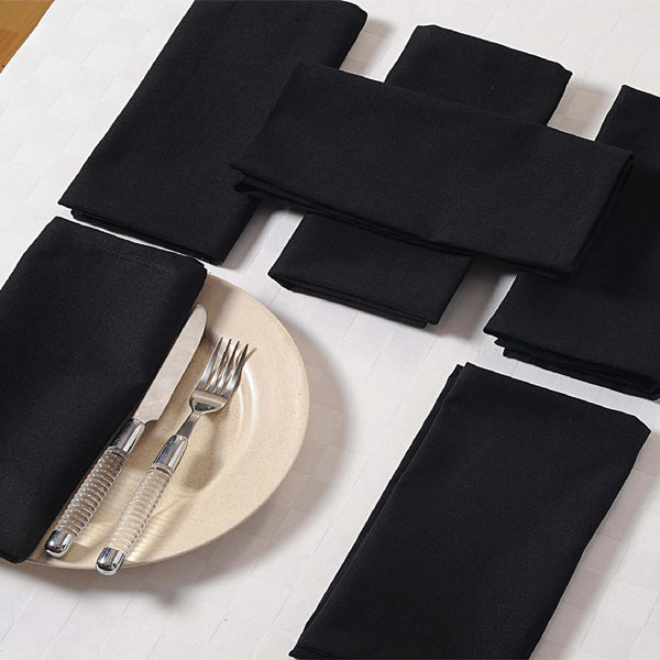 "Solid Color Cotton Dinner Napkins - 20"" x 20"" - Set of 4 Premium Table Linens for the Dining Room - Black TN04-Black"