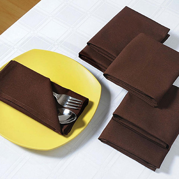 "Solid Color Cotton Dinner Napkins - 20"" x 20"" - Set of 4 Premium Table Linens for the Dining Room - Choco TN04-Choco"