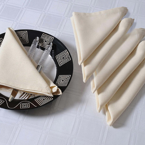 "Solid Color Cotton Dinner Napkins - 20"" x 20"" - Set of 4 Premium Table Linens for the Dining Room - Cream"
