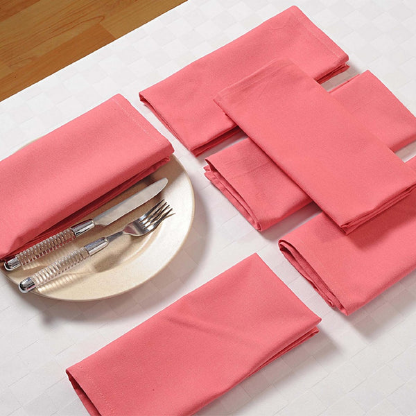 "Solid Color Cotton Dinner Napkins - 20"" x 20"" - Set of 4 Premium Table Linens for the Dining Room - Rose TN04-Rose"