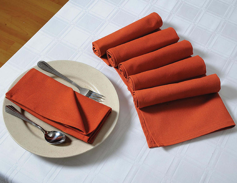 "ShalinIndia Cotton Napkins For Buffet - 27"" x 27"" -  Premium Table Linens for the Dining Room - Rust"