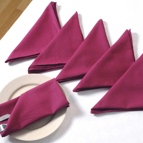 "Solid Color Cotton Dinner Napkins - 20"" x 20"" - Set of 4 Premium Table Linens for the Dining Room - Wine Color"