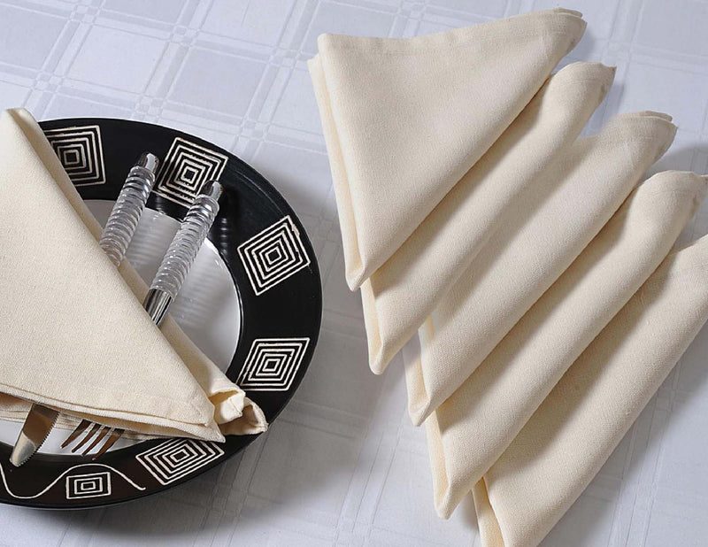 "ShalinIndia Cloth Dinner Napkins - 22"" x 22"" - Cotton - Cream - Set of 6 - Perfect for Weddings & Dinner Parties"