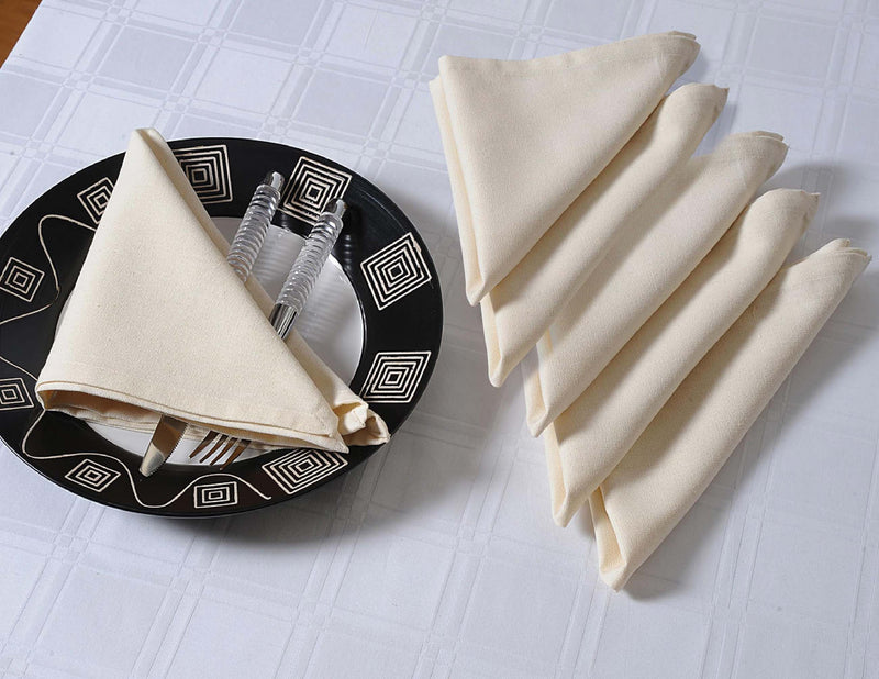 "ShalinIndia Cloth Napkins Set For Horde Ouveres - 13"" x 13"" - Cotton - Cream - Set of 4 - Perfect for Weddings & Parties"