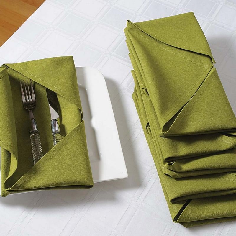 Solid Color Cotton Dinner Napkins - 20 inch x 20 inch - Set of 12 Premium Table Linens for the Dining Room - Green