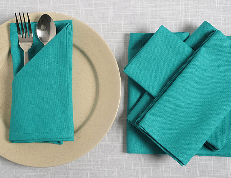 "ShalinIndia Cloth Cocktail Napkins Set - 6"" x 9"" - Cotton - Aqua - Set of 6 - Perfect for Weddings &  Parties"