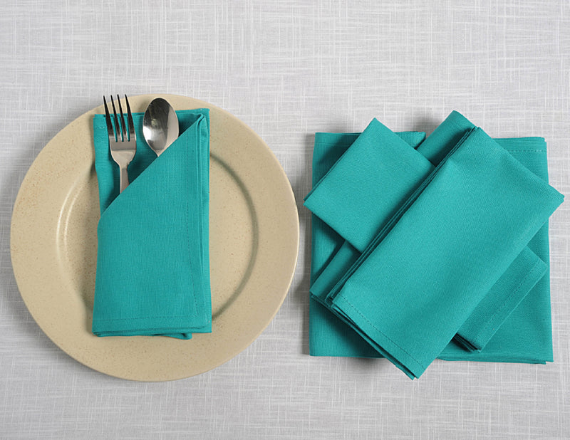 "ShalinIndia Cloth Napkins Set For Horde Ouveres - 13"" x 13"" - Cotton - Aqua - Set of 4 - Perfect for Weddings & Parties"