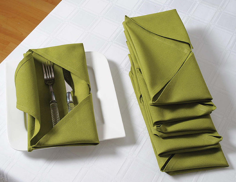 "ShalinIndia Cloth Cocktail Napkins Set - 6"" x 9"" - Cotton - Green - Set of 4 - Perfect for Weddings &  Parties"