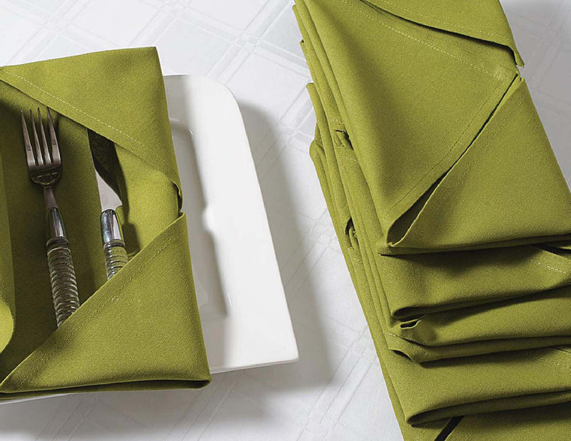 "ShalinIndia Cloth Dinner Napkins - 24"" x 24"" - Cotton - Green - Set of 6 - Perfect for Weddings & Dinner Parties"