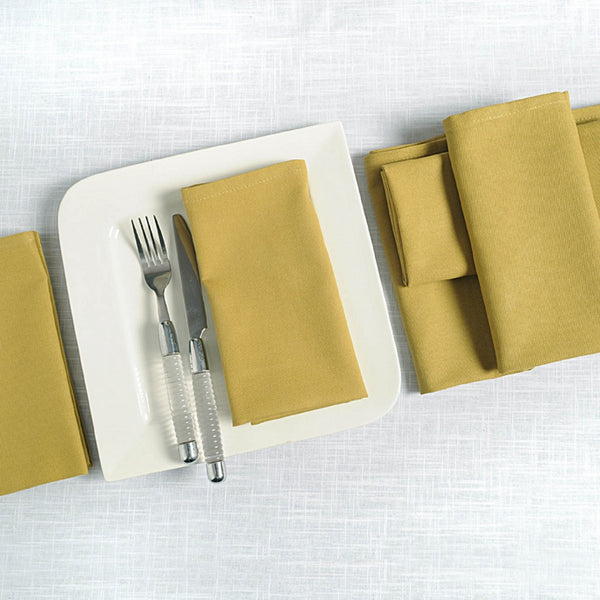 "Solid Color Cotton Dinner Napkins - 20"" x 20"" - Set of 6 Premium Table Linens for the Dining Room - Ochre TN16-Ochre"