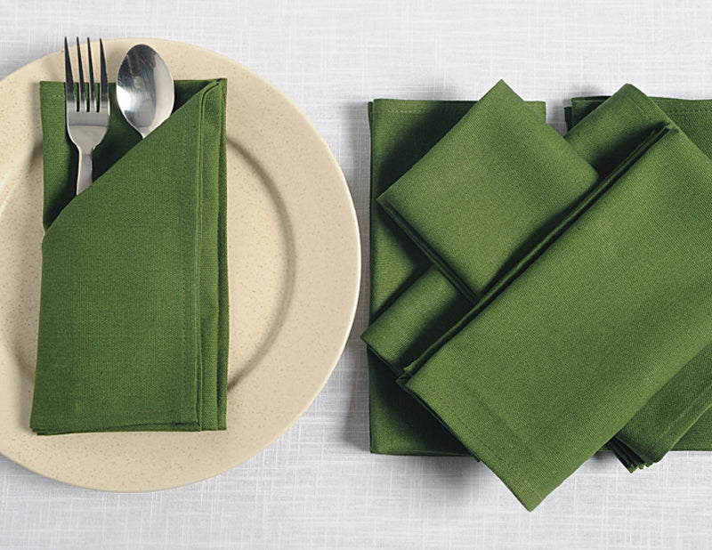 "ShalinIndia Cloth Cocktail Napkins Set - 6"" x 6"" - Cotton - Olive - Set of 6 - Perfect for Weddings & Parties"