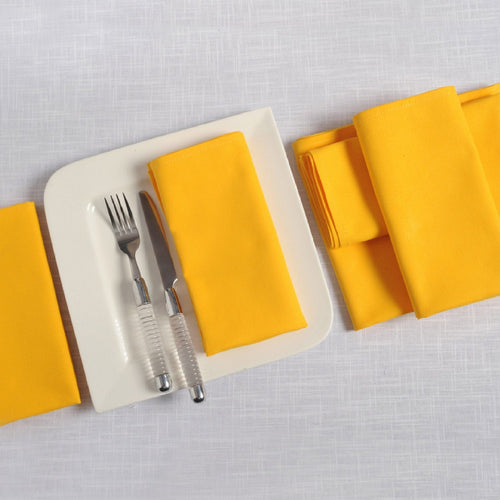"Solid Color Cotton Dinner Napkins - 20"" x 20"" - Set of 6 Premium Table Linens for the Dining Room - Sunflower Yellow"
