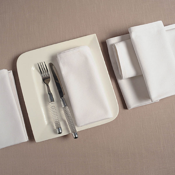 "Solid Color Cotton Dinner Napkins - 20"" x 20"" - Set of 6 Premium Table Linens for the Dining Room-White TN16-White"