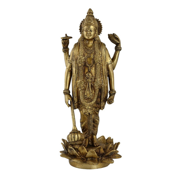 Vishnu Statue Hindu Spiritual Art Home Sculptures; Brass; 12.5 Inches