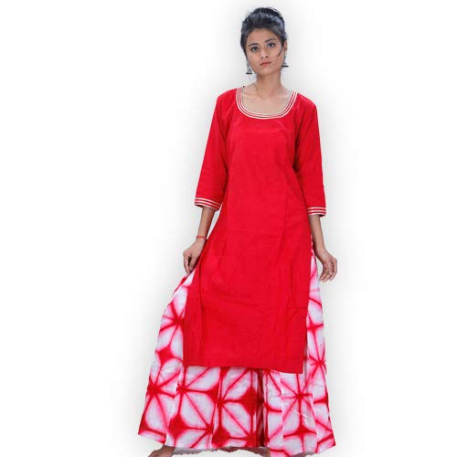 ShalinIndia Pure Kora cotton Plazzo Straight Cut Clamp Dying Kurta With Gotta Work on Neck and Sleeves Clothing Accessories Red White,Small