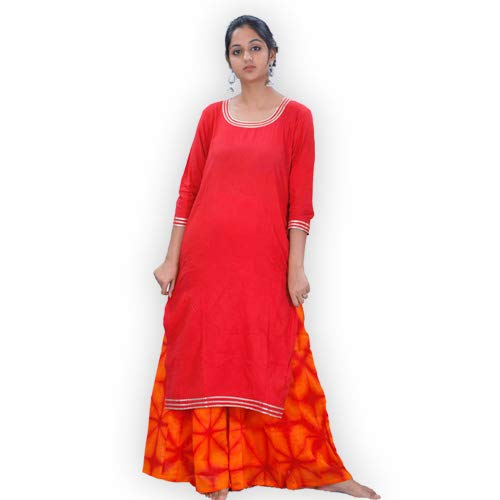 ShalinIndia Pure Kora cotton Plazzo Straight Cut Clamp Dying Kurta With Gotta Work on Neck and Sleeves Clothing Accessories Red Orange,Small