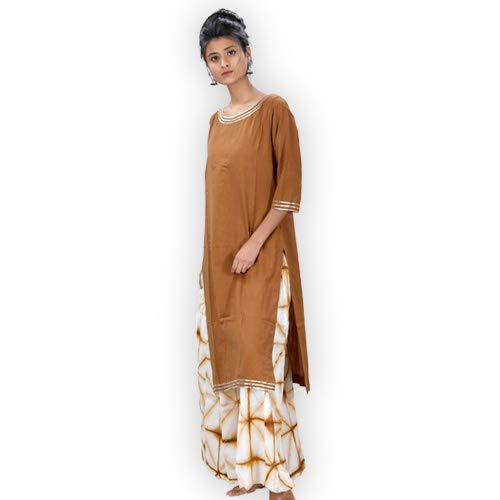 ShalinIndia Pure Kora cotton Plazzo Straight Cut Clamp Dying Kurta With Gotta Work on Neck and Sleeves Clothing Accessories Brown White,XXL