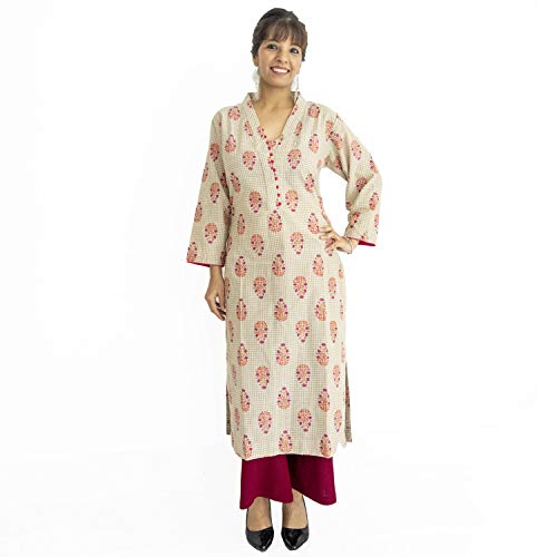 ShalinIndia Pure Cotton Block Print Kurta with V Neckline Perfect for Office and Casual Wear,Red Pink Size XXL