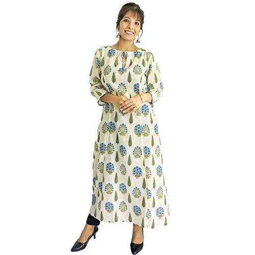 ShalinIndia Pure Cotton Block Print Kurta with Boat Neckline Perfect for Office and Casual Wear, Blue Size X L