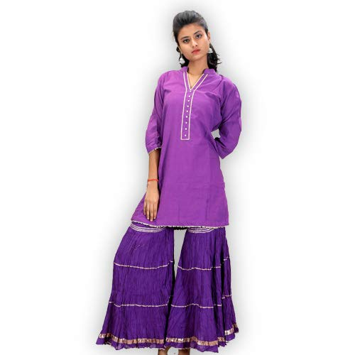 ShalinIndia Pure Ethnic Cotton Mul Kurta and Sharara for Festive wear Short Length With Gotta Work Clothing Accessories Purple, Size L