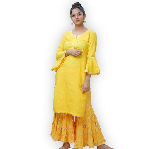 ShalinIndia Mul Cotton Women's Ethnic Cotton Mul Kurta and Sharara for Occasional wear With Gotta Work Clothing Accessories. Yellow, Size L