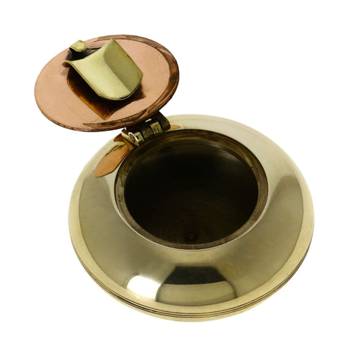 ShalinIndia Cigarette Accessories Brass Metal Pocket Ashtray with Lid