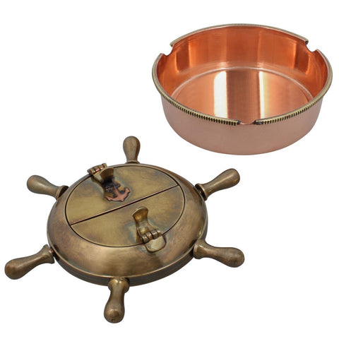 Set Of Two Brass Metal  Ashtrays Outdoors Cigarette Accessories Indian