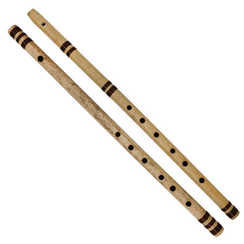 Indian Bansuri Bamboo Flute Set - Includes 2 Flutes: Fipple & Transverse - Indian Musical Instruments for Professional Use