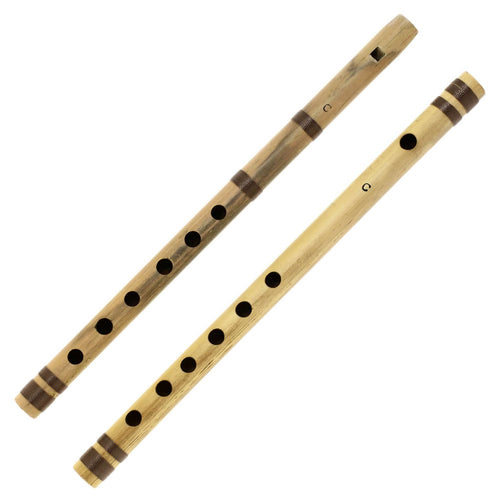 Indian Bamboo Flute C Transverse and Fipple High Frequency Notes Set of 2