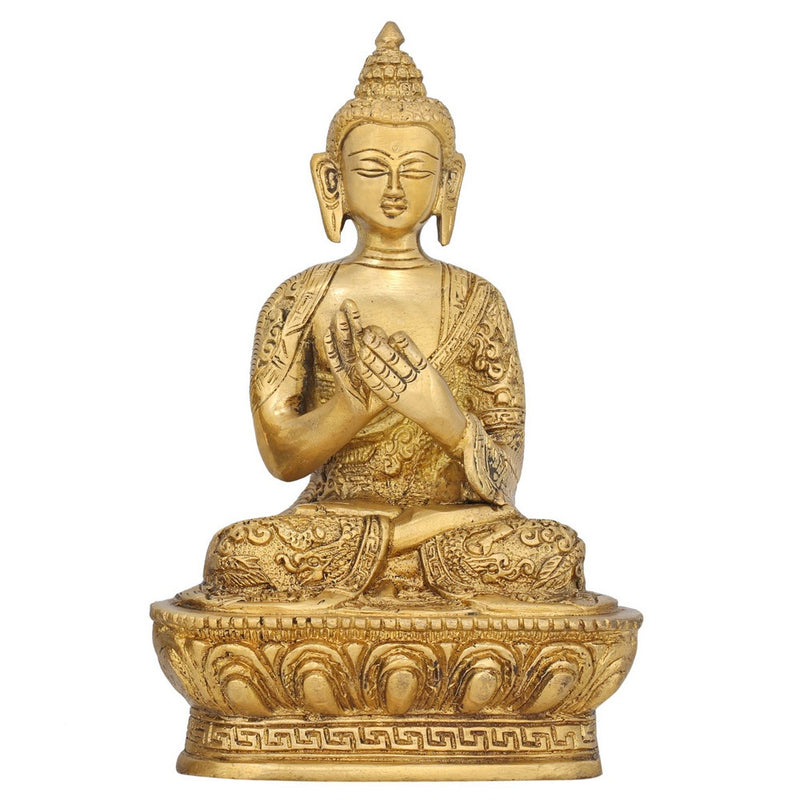 Wheel of Dharma Buddha Statue Buddhism Sculptures for Home Décor Brass 6.75 Inch