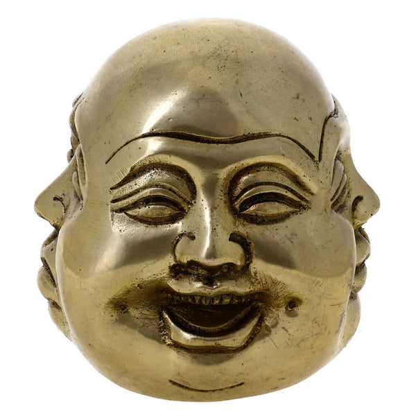 Buddhism Decor Laughing Smiling Buddha Statue Brass 3 Inches