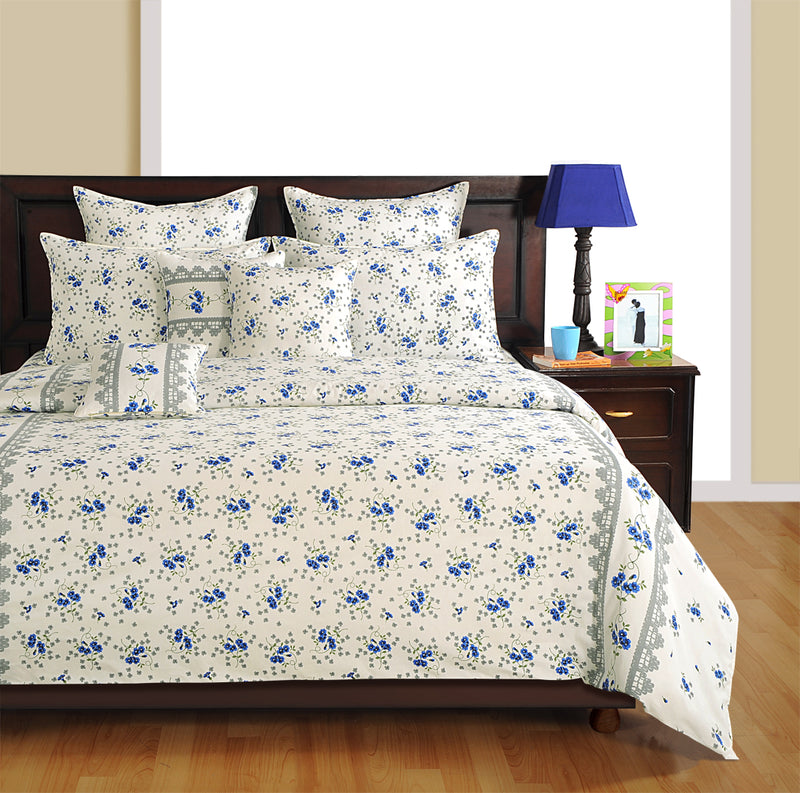 ShalinInida Bedroom Decoration Bedding Set of Duvet Cover Pillowcase Shams Cushion Cover for Queen Bed - Blue Lilies