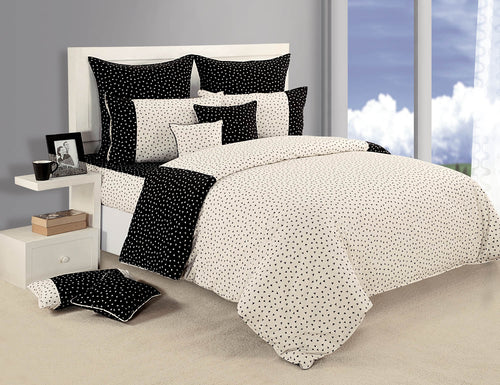 ShalinIndia Bedroom Decoration Bedding Set of Black and White Duvet Cover Pillowcase Shams Cushion Cover for Queen Bed