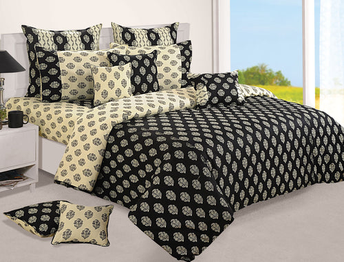 ShalinIndia Bedroom Decoration Bedding Set of Cream and Black Duvet Cover Pillowcase Shams Cushion Cover for Queen Bed