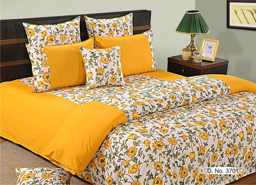 ShalinIndia Bedroom Decoration Bedding Set of Yellow White Duvet Cover Pillowcase Shams Cushion Cover for Queen Bed