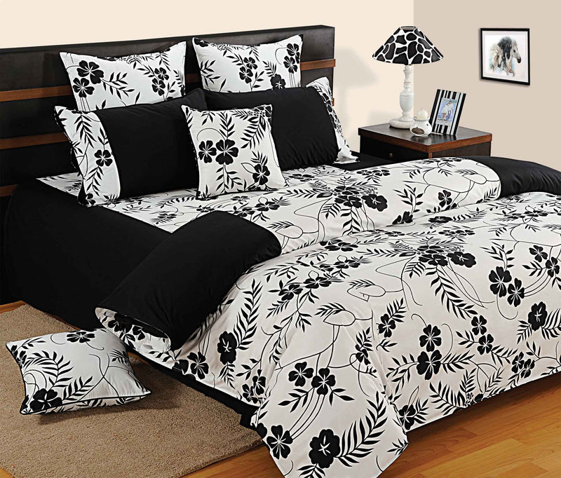 ShalinInida Bedroom Decoration Bedding Set of Duvet Cover Pillowcase Shams Cushion Cover for Queen - Black White floral