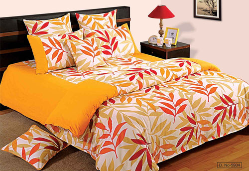 ShalinIndia Bedroom Decoration Bedding Set of Yellow Red Duvet Cover Pillowcase Shams Cushion Cover for Queen Bed