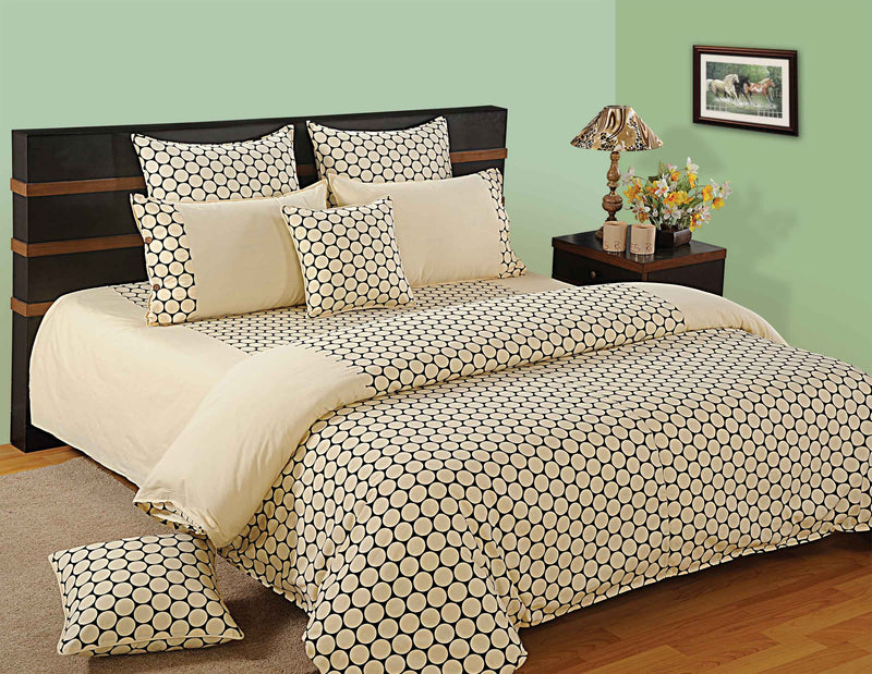 ShalinIndia Bedroom Decoration Bedding Set of Cream Duvet Cover Pillowcase Shams Cushion Cover for Queen Bed
