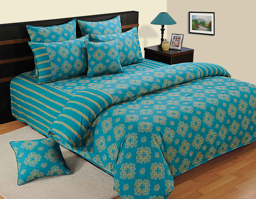 ShalinIndia Bedroom Decoration Bedding Set of Aqua Duvet Cover Pillowcase Shams Cushion Cover for Queen Bed