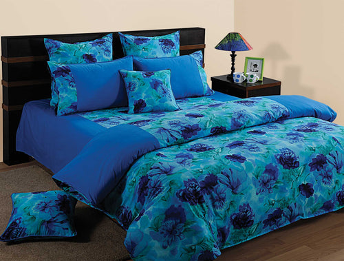 ShalinIndia Bedroom Decoration Bedding Set of Blue Duvet Cover Pillowcase Shams Cushion Cover for Queen Bed