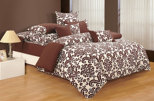 ShalinIndia Bedroom Decoration Bedding Set of Choco Brown Duvet Cover Pillowcase Shams Cushion Cover for Queen Bed