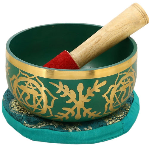 ShalinIndia Anahata Green Buddhist Singing Bowl - Tuned to the 4th Chakra Heart Chakra - Fine Quality Brass - 5 Inches - Ideal for Meditations Ayurveda & Yoga