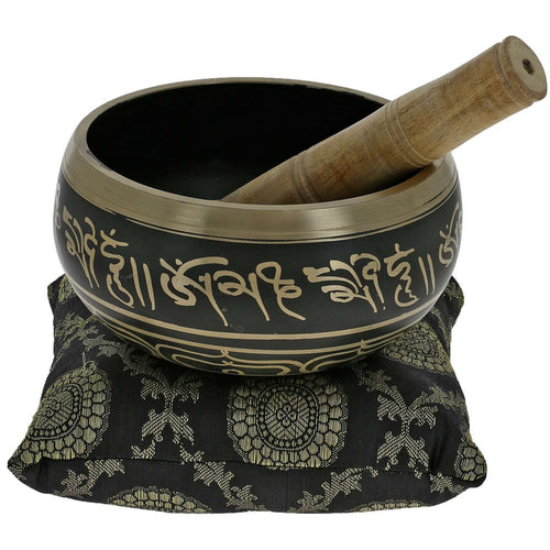 Buddhist Singing Bowl Meditation Tibetan Golden and Black Art Décor 5.5 Inch