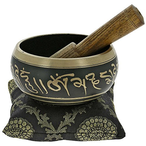 "4"" Hand Painted Metal Tibetan Buddhist Singing Bowl Musical Instrument for Meditation with Stick and Cushion"