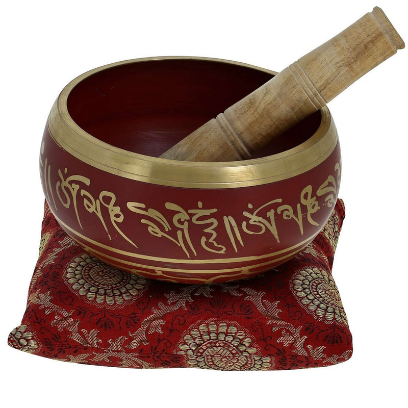 5 Inches Hand Painted Metal Tibetan Buddhist Singing Bowl Musical Instrument for Meditation with Stick and Cushion